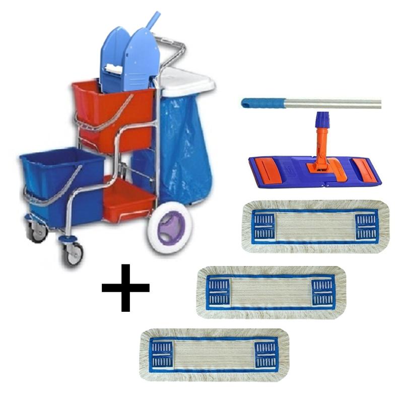 Úklidový vozík DUO KOMBI + FLIPPER Mop sestava se 3 návleky